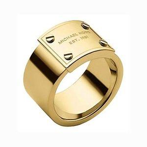 Michael Kors Gold Tone Logo Plaque Ring Size 6